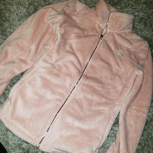 Pink and rose gold north face jackets